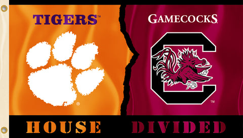 Clemson Tigers South Carolina Gamecocks 3' x 5' House Divided Flag (NCAA)
