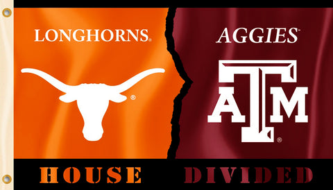 Texas A&M Aggies Texas Longhorns 3' x 5' House Divided Flag NCAA