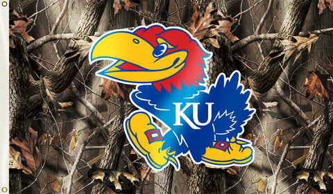 Kansas Jayhawks 3' x 5' Flag (Realtree Camo) NCAA