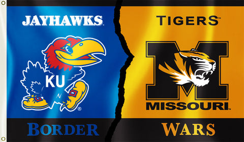 Kansas Jayhawks Missouri Tigers 3' x 5' Border Wars Flag NCAA