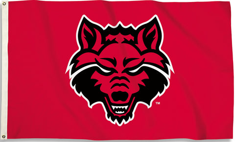 Arkansas State Red Wolves 3' x 5' Flag (Logo Only On Red) NCAA