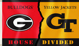 Georgia Bulldogs Georgia Tech Yellowjackets 3' x 5' House Divided Flag NCAA