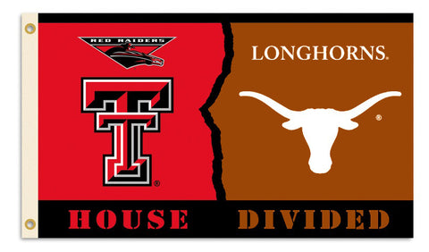 Texas Longhorns Texas Tech Red Raiders 3' x 5' House Divided Flag NCAA