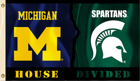 Michigan Wolverines Michigan State Spartans 3' x 5' House Divided Flag NCAA