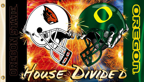 Oregon Ducks Oregon State Beavers 3' x 5' House Divided Flag (Football Helmets) NCAA