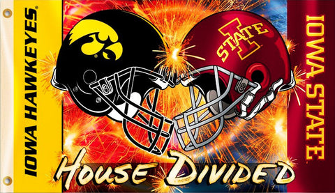 Iowa Hawkeyes Iowa State Cyclones 3' x 5' House Divided Flag (Helmets) NCAA