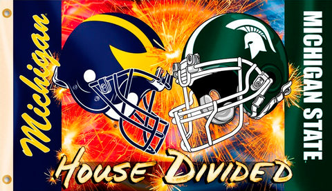 "Michigan Wolverines Michigan State Spartans 3' x 5"" House Divided Flag (Helmets) NCAA"