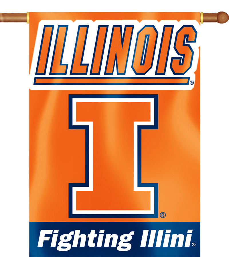 "Illinois Fighting Illini 28"" x 40"" Two Sided House Banner NCAA"
