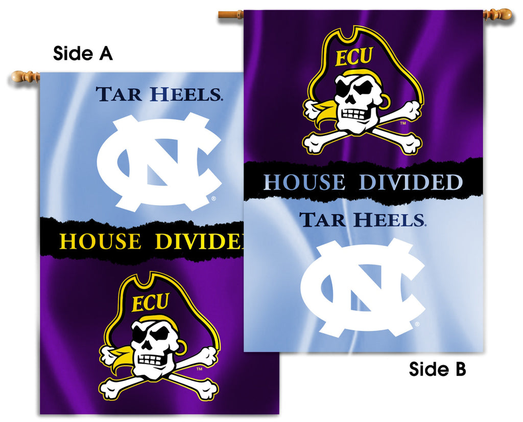 "East Carolina Pirates North Carolina Tar Heels 28"" x 40"" Two Sided House Divided Banner NCAA"