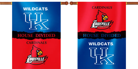 "Kentucky Wildcats Louisville Cardinals 28"" x 40"" Two Sided House Divided Banner NCAA"
