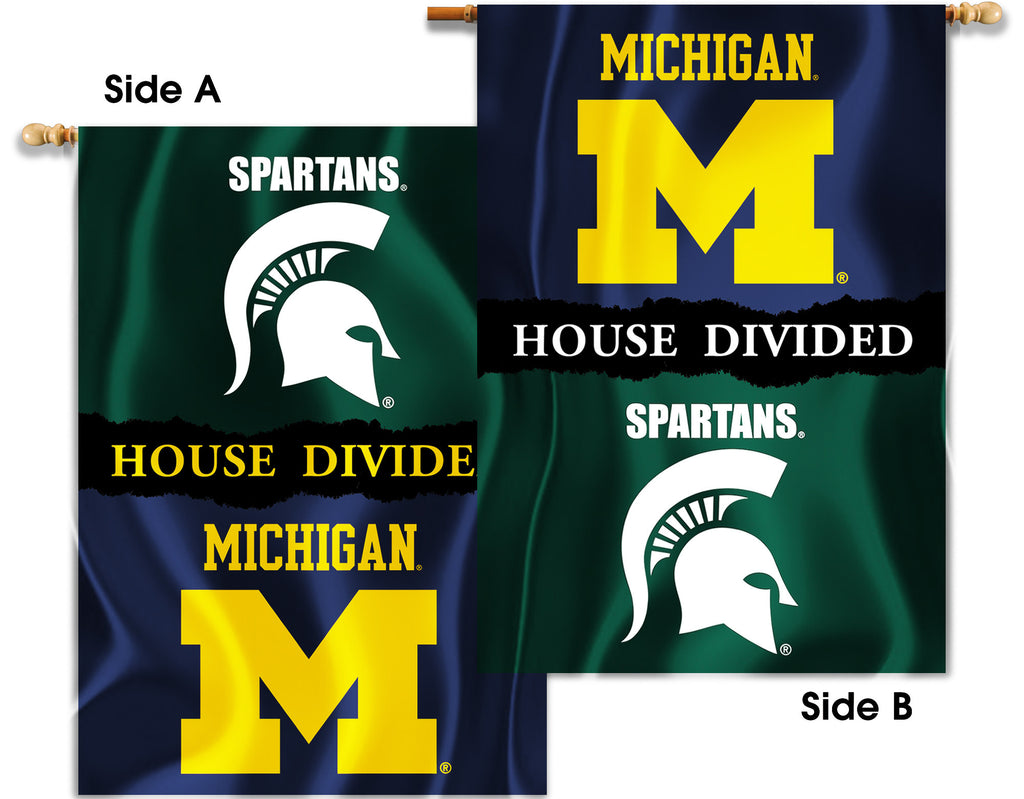 "Michigan Wolverines Michigan State Spartans 28"" x 40"" Two Sided House Divided Banner NCAA"
