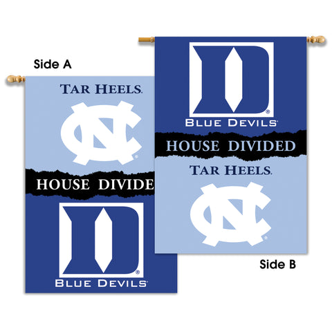 "Duke Blue Devils North Carolina Tar Heels 28"" x 40"" Two Sided House Divided Banner NCAA"