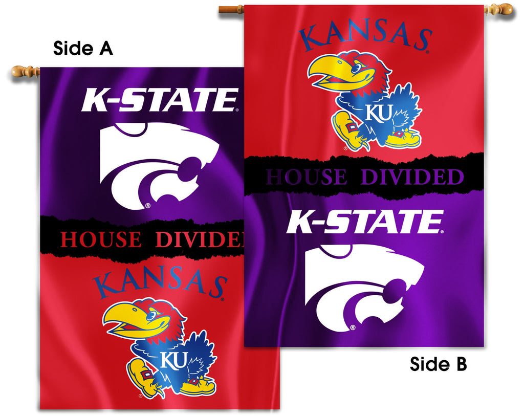 "Kansas Jayhawks Kansas State Wildcats 28"" x 40"" Two Sided House Divided Banner NCAA"