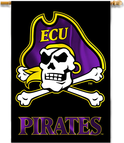 "East Carolina Pirates 28"" x 40"" Two Sided House Banner (ECU Jolly Roger) NCAA"