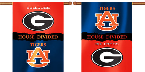 "Auburn Tigers Georgia Bulldogs 28"" x 40"" Two Sided House Divided Banner NCAA"