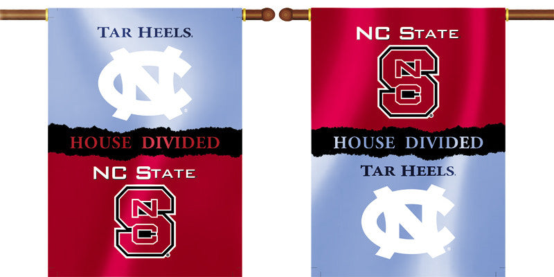 "North Carolina Tar Heels NC State Wolfpack 28"" x 40"" Two Sided House Divided Banner NCAA"