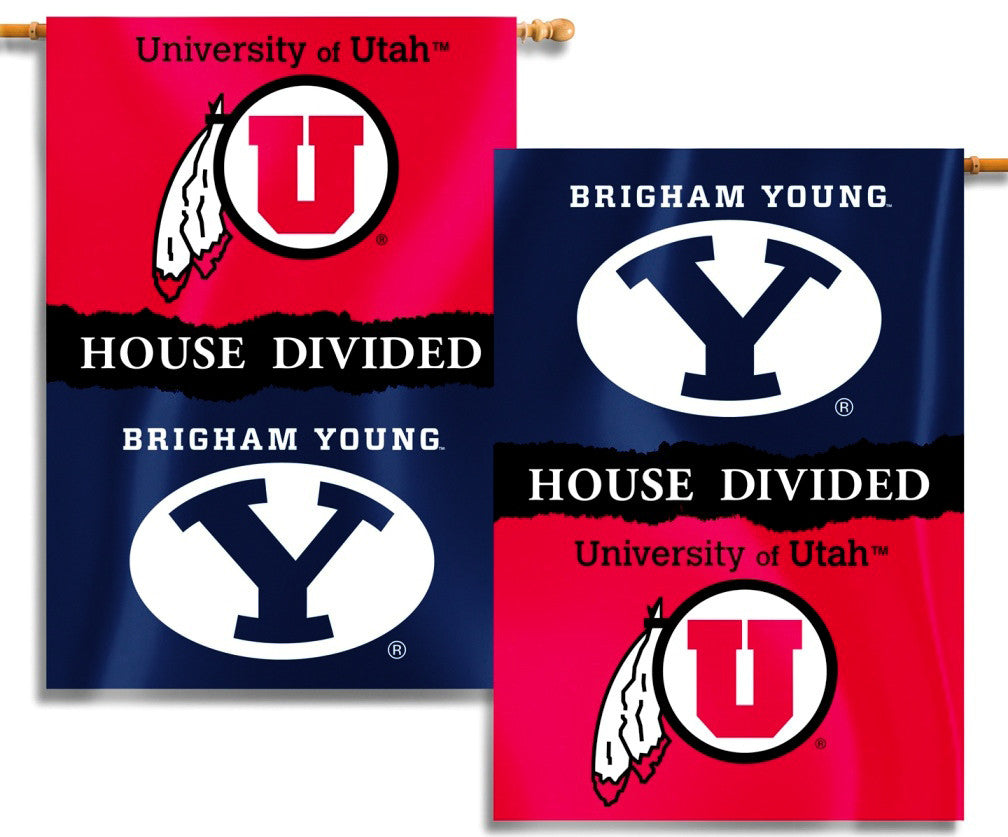 "BYU Cougars Utah Utes 28"" x 40"" Two Sided House Divided Banner NCAA"