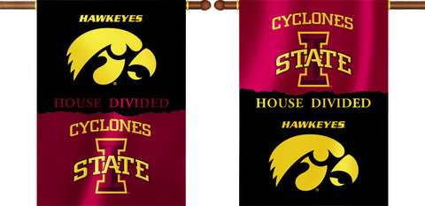 "Iowa Hawkeyes Iowa State Cyclones 28"" x 40"" Two-Sided House Divided Banner NCAA"