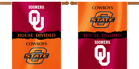 "Oklahoma Sooners Oklahoma State Cowboys 28"" x 40"" Two Sided House Divided Banner NCAA"