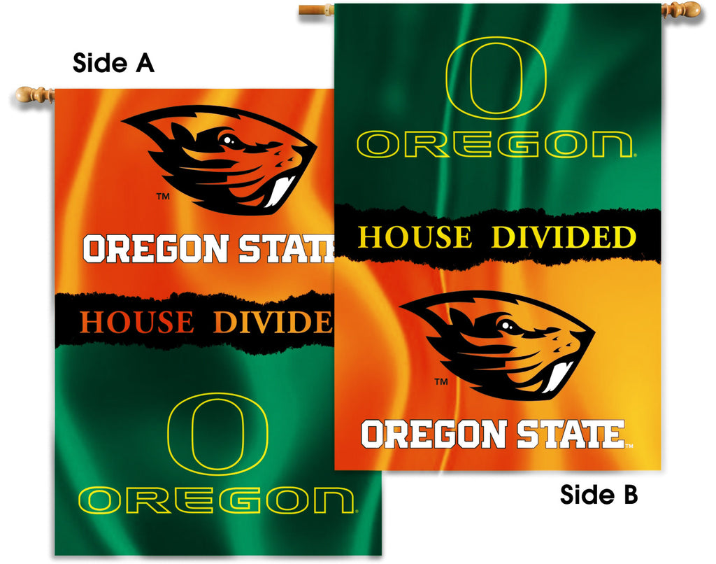 "Oregon Ducks Oregon State Beavers 28"" x 40"" Two Sided House Divided Banner NCAA"