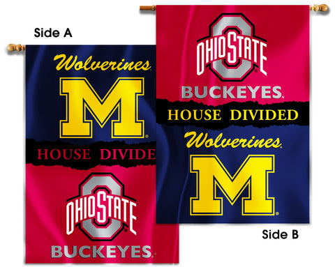 "Michigan Wolverines Ohio State Buckeyes 28"" x 40"" Two Sided House Divided Banner NCAA"