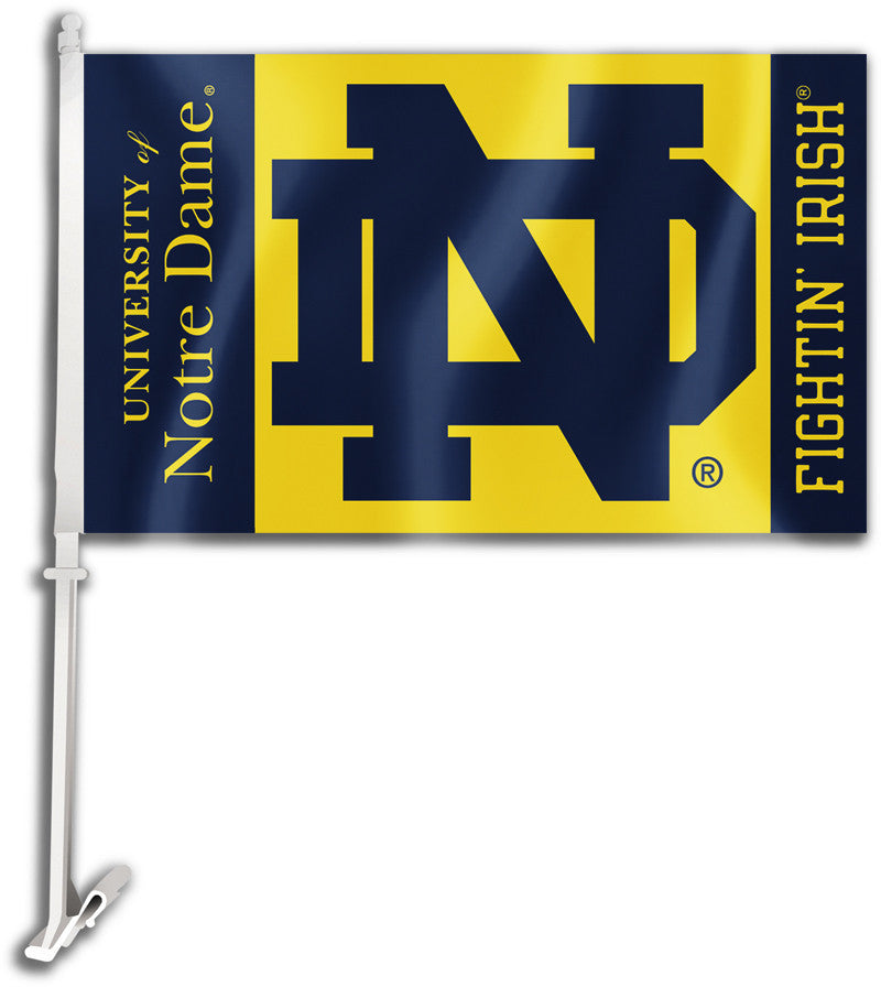 "Notre Dame Fighting Irish 11"" x 18"" Two Sided Car Flag (""ND"") NCAA"