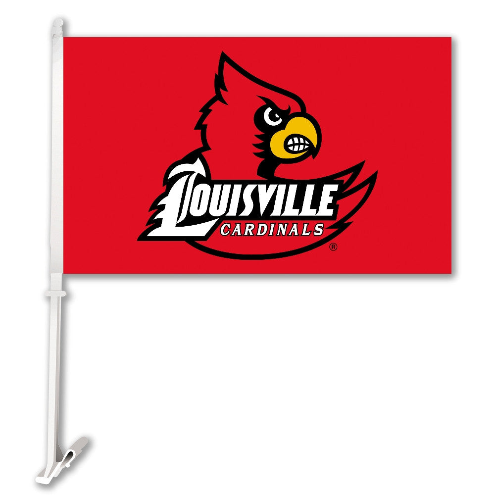 "Louisville Cardinals 11"" x 18"" Two Sided Car Flag (Logo on Red) NCAA"