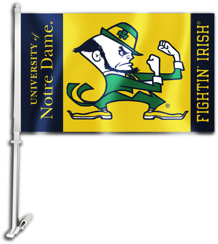 "Notre Dame Fighting Irish 11"" x 18"" Two Sided Car Flag (Leprechaun) NCAA"