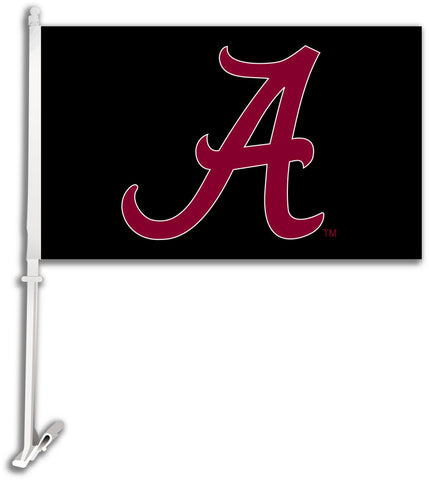 "Alabama Crimson Tide 11"" x 18"" Two-Sided Car Flag (""A"" on Black) NCAA"
