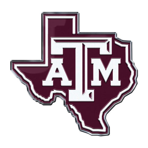 Texas A&M Aggies Auto or Hard Surface Emblem Decal NCAA (State Shape)