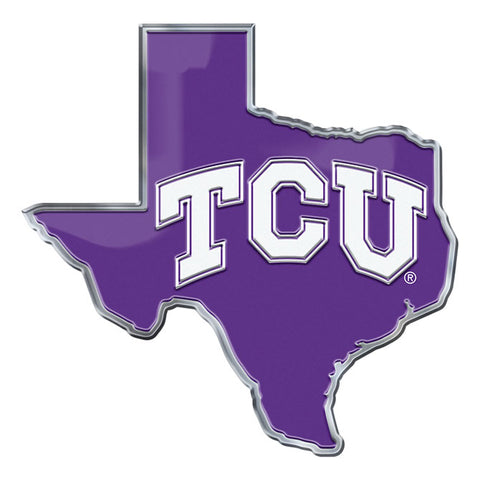TCU Horned Frogs Auto or Hard Surface Emblem Decal NCAA (State Shape)