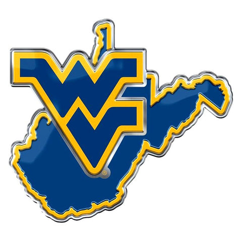 West Virginia Mountaineers Auto or Hard Surface Emblem Decal NCAA (State Shape)
