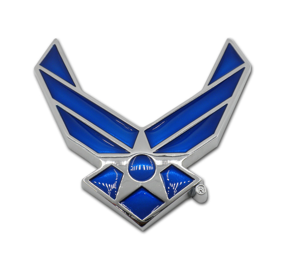 U.S. Air Force Premium Chrome Metal Auto Emblem (Wings) Officially Licensed