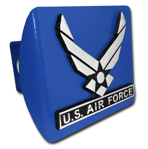 U.S. Air Force Chrome Metal Blue Hitch Cover (Wings) Officially Licensed