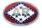 Arkansas State Flag Chrome Metal Auto Emblem (Oval)