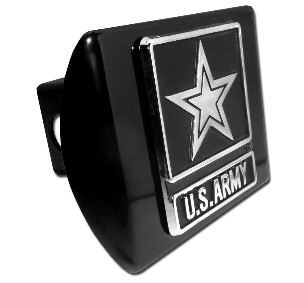 U.S. Army Chrome Metal Black Hitch Cover (Army Star)Military Officially Licensed