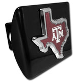 Texas A&M Aggies Chrome Metal Black Hitch Cover (TX Shape w/ Color) NCAA