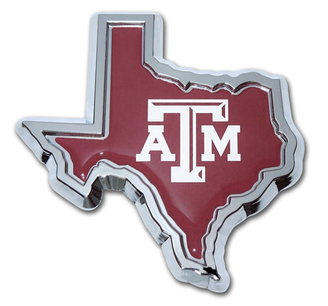 Texas A&M Aggies Chrome Metal Auto Emblem (Texas Shape w/ Color) NCAA