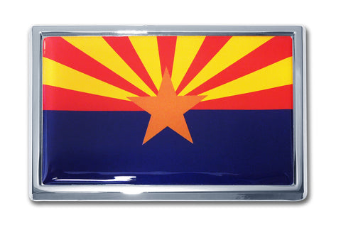 Arizona State Flag Chrome Metal Auto Emblem