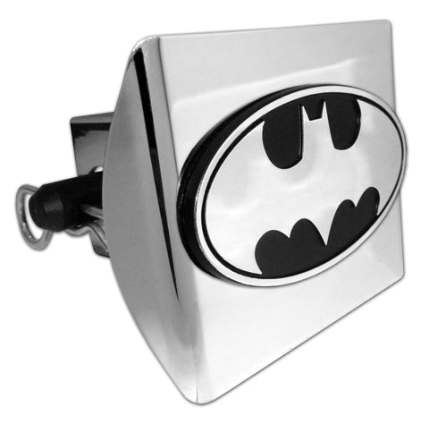 Batman Shiny Chrome Plastic Hitch Cover (Chrome & Black Oval) DC Comics