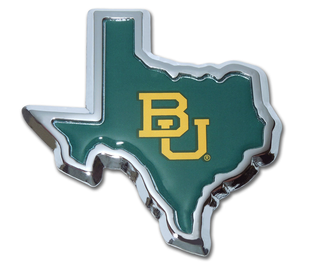 Baylor Bears Chrome Metal Auto Emblem (Texas Shape with Color) NCAA