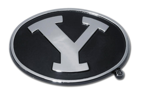 BYU Cougars Chrome Metal Auto Emblem (Black and Chrome) NCAA