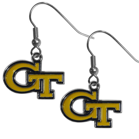 Georgia Tech Yellowjackets Dangle Earrings (Chrome) NCAA