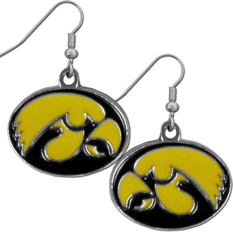 Iowa Hawkeyes Dangle Earrings (Chrome) NCAA