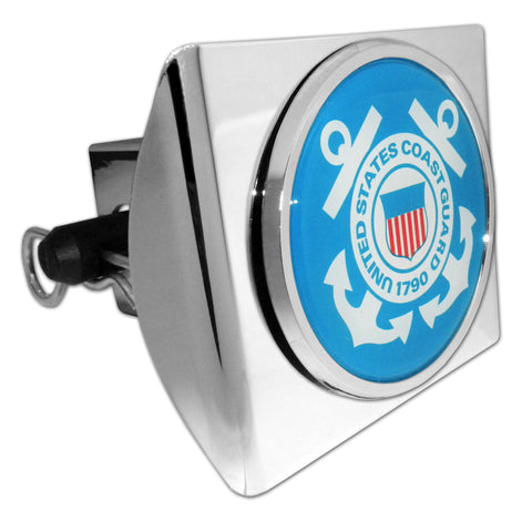 U.S. Coast Guard Shiny Chrome Plastic Hitch Cover (Blue Seal)