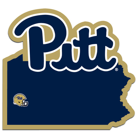 Pitt Panthers Home State Vinyl Auto Decal (NCAA) Pennsylvania Shape w/Helmet