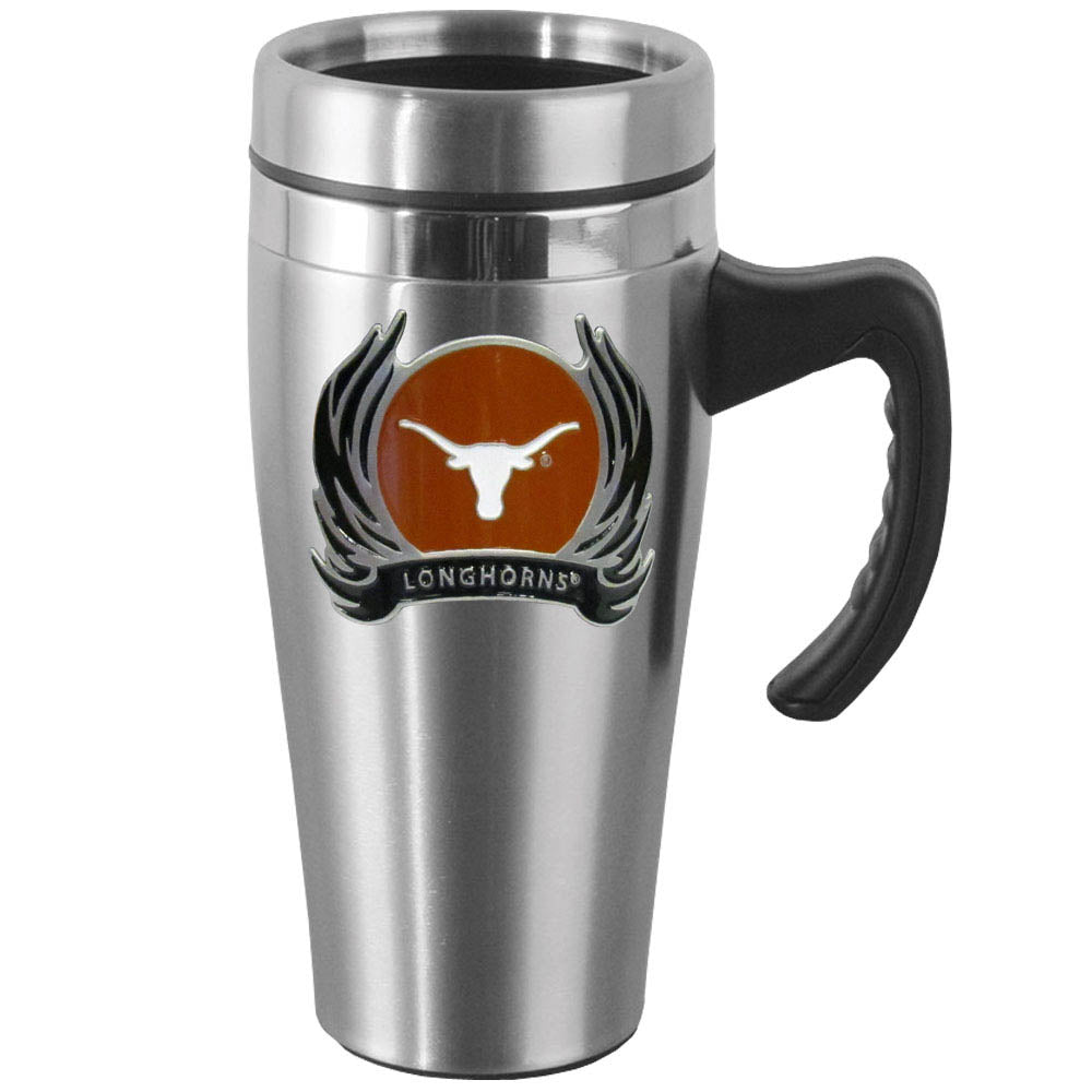 Texas Longhorns 14 oz Stainless Steel Travel Mug with Handle & Flames (NCAA)