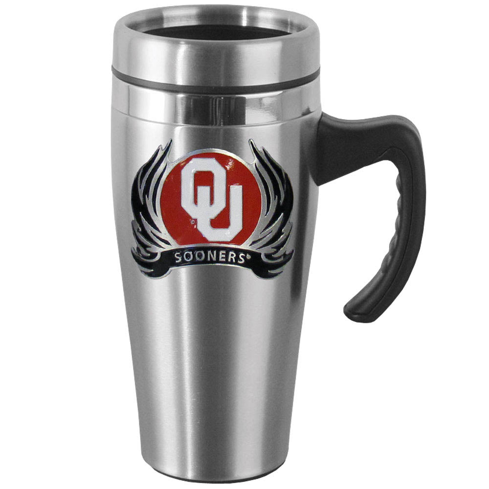 Oklahoma Sooners 14 oz Stainless Steel Travel Mug with Handle & Flames (NCAA)