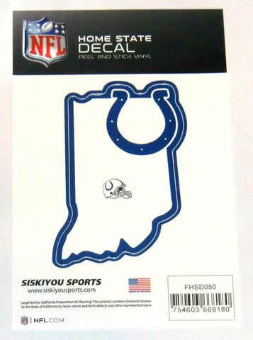 Indianapolis Colts Home State Vinyl Auto Decal (NFL) Indiana Shape
