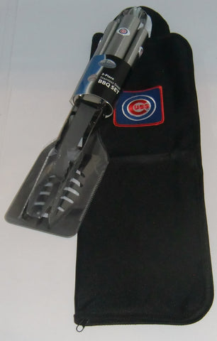 Chicago Cubs 3 Piece Stainless Steel BBQ Set with Canvas Bag (MLB)